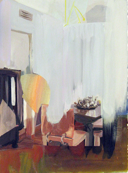 Judith Simonian, Dining In, 2003, Gouache on Giclee artists proof print (unique), 15h x 11w in