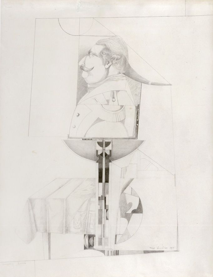 Richard Linder, Euphoric Dream, 1955, Pencil on paper, 24 5/8h x 18 3/4h in.