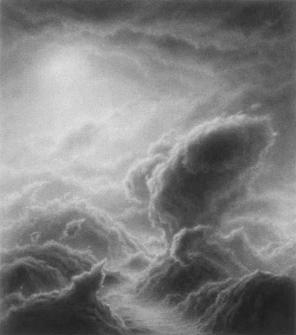 Hilary Brace, Untitled (#5-02), 2002, Charcoal on mylar, 4.375h x 3.875w in