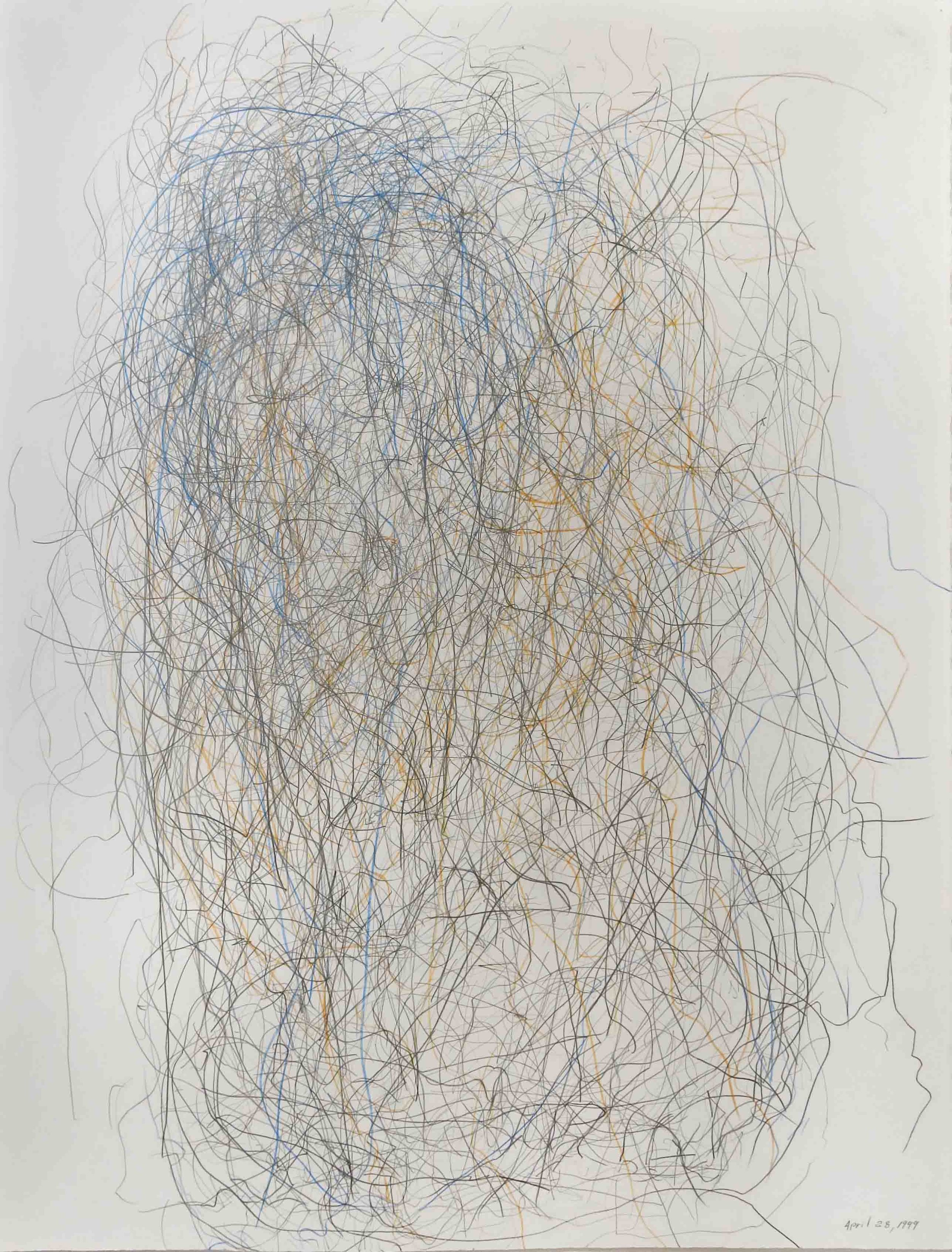 Edward Finnegan,  April 25, 1999 (Portraits series) , 1999, Graphite and colored pencil on paper, 30h x 22.5w in.