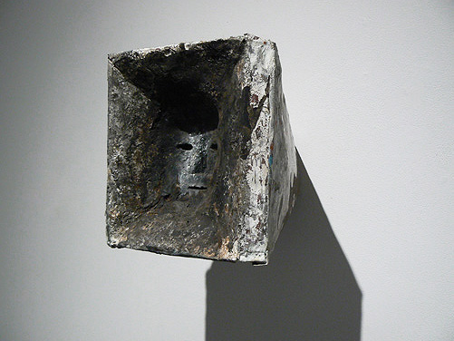 June Leaf,  Inverted Face,  2008-10, Copper sheeting and mixed media, 9h x 9w x 12d in.