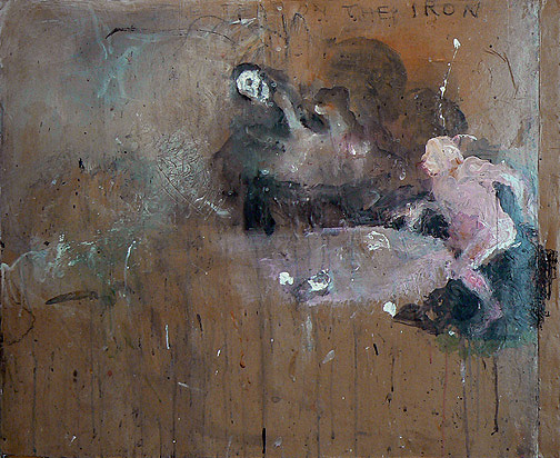 June Leaf,  Hand in Last Supper,  2009, Mixed media and paper on tin, 32h x 29w in.