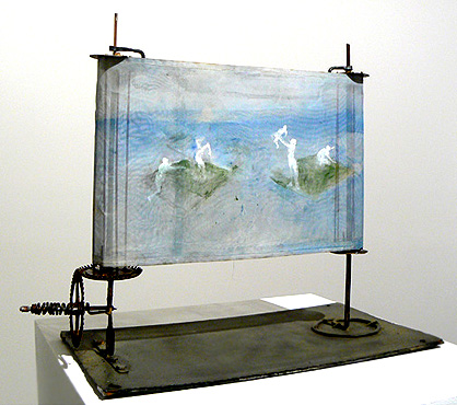 June Leaf,  Scroll with Figures , 2008, mixed media, 15h x 19w x 9d in.
