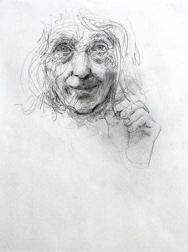 June Leaf,  Self Portrait,  2006, pencil on paper, 14 1/2h x 11 3/4w in.