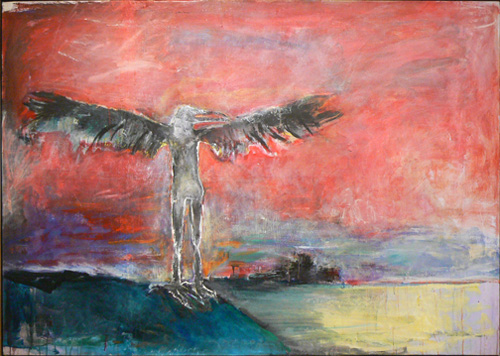 June Leaf,  Northern Bird,  1985, mixed media on canvas, 50h x 70w in.
