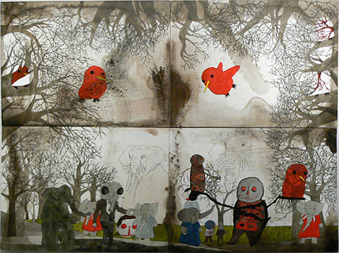 Neil Farber, A Clearing, 2010-11, mixed media on panels, 60h x 80w in.