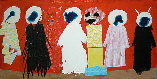 Neil Farber, Evening Gown Competition, 2010-11, mixed media on panel, 24h x 48w in.