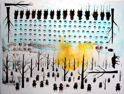 Neil Farber, Forest Code Part Two , 2010-11, mixed media on panel, 30h x 40w in.