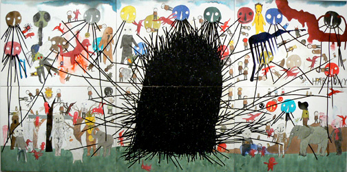 Neil Farber, Harmony, 2010-11, mixed media on panels, 60h x 120w in.