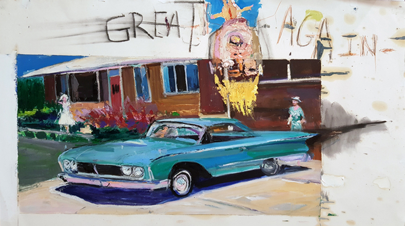 Matt Blackwell,  Great Again,  2016, oil on paper mounted on canvas, 29h x 40w in.