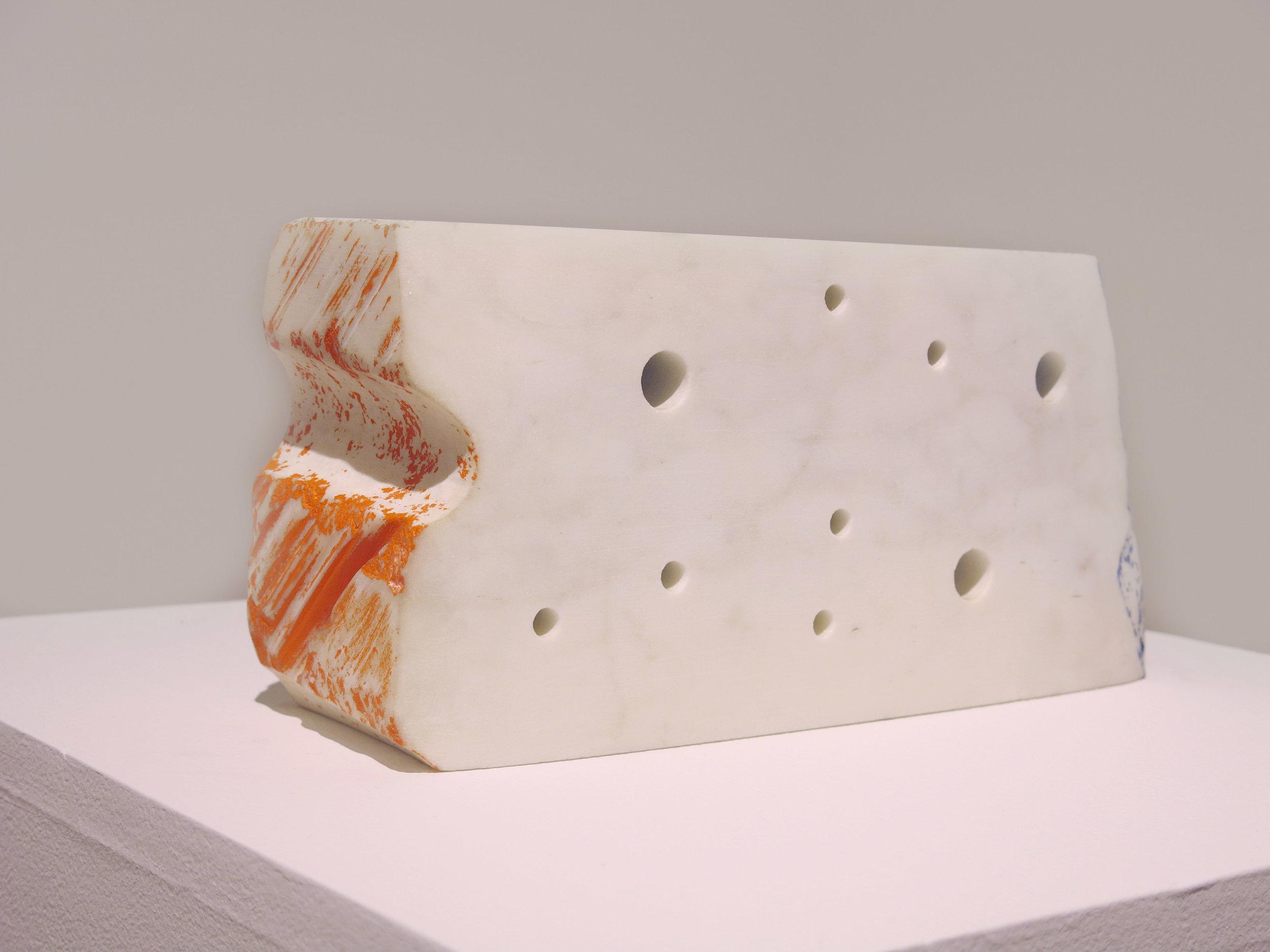 Edward Finnegan, Meditation, 2008, Carrera marble, pigment, 6h x 12.5w x 4.5d in.