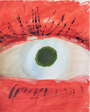Sarah Faux,  Eye,  2013, watercolor, ink, oilstick on paper, 24h x 18w in.