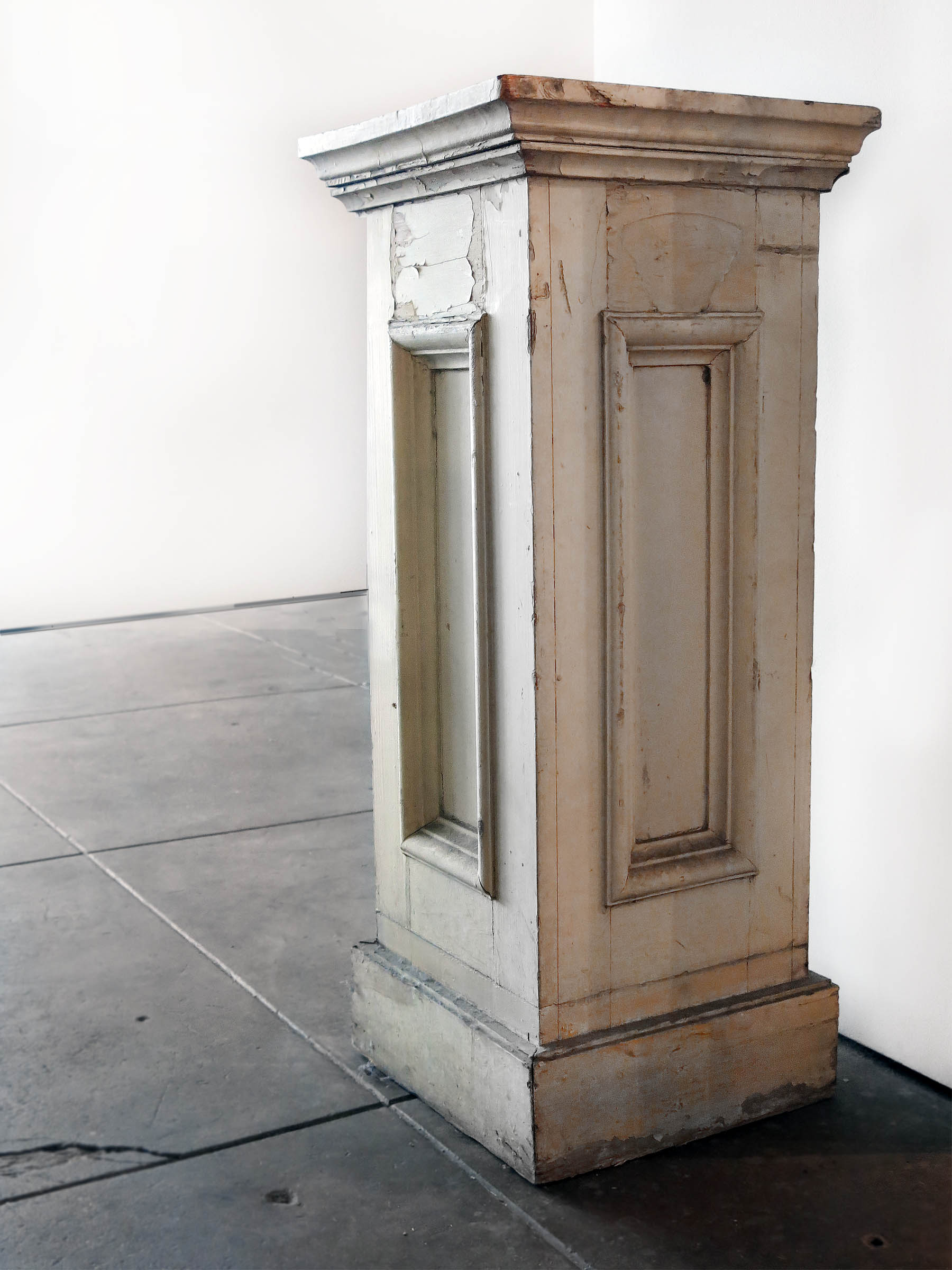 American, Pedestal, Early 20th c., Painted wood, 35h x 15w in.