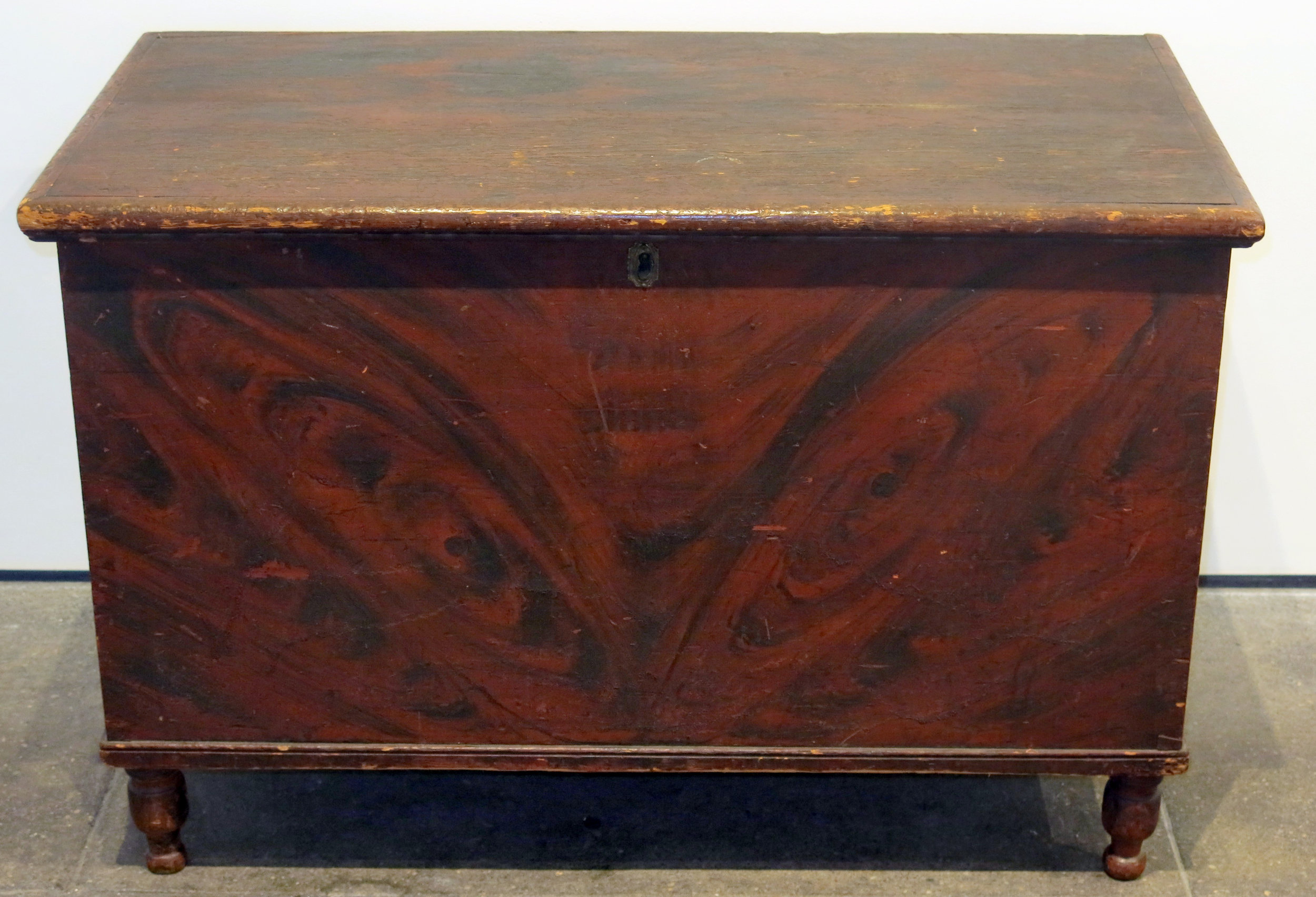 Early American,  Chest,  18th c., Wood with cast iron hinge, 24.25h x 38w x 20d in.