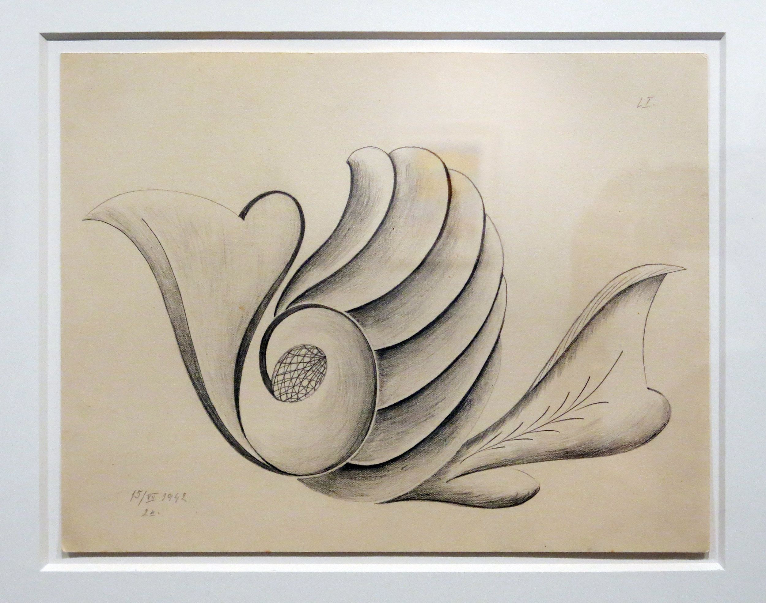 Czech Republic, Untitled (Anonymous [LI] Mediumistic Drawing), 1942, Graphite on paper, 8.75h x 11.75 in.