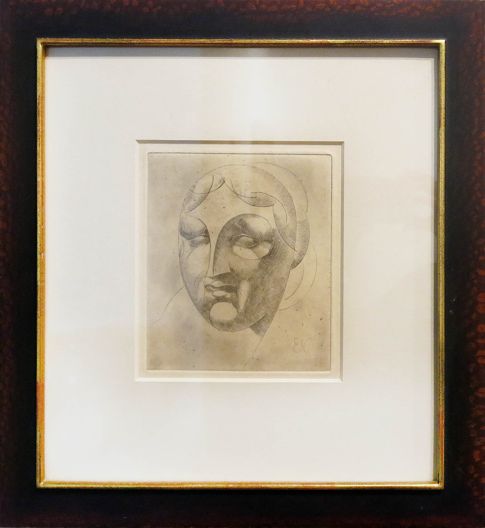 Elie Nadelman,  Female Head,  1952, Etching, 7h x 6w in.