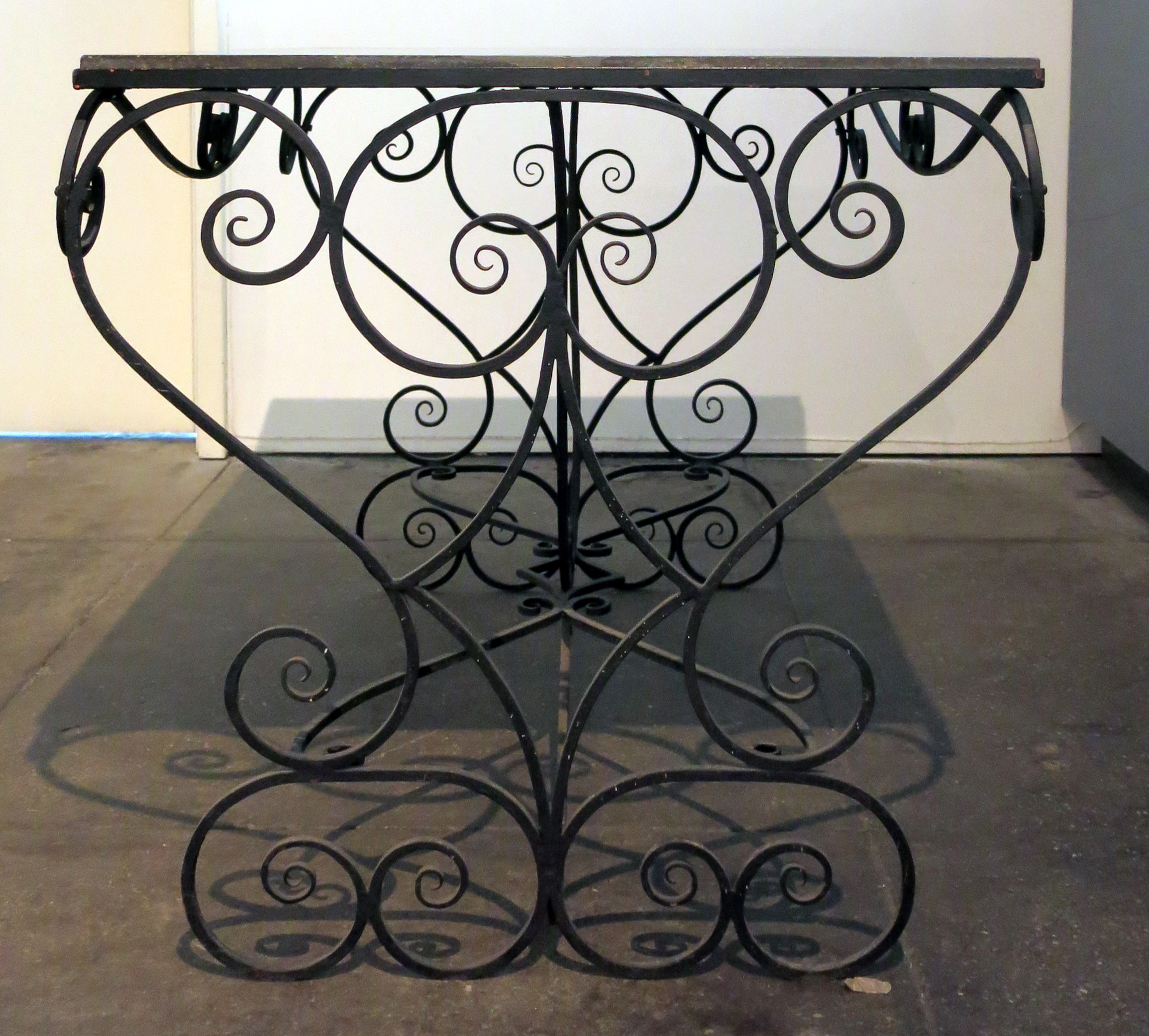 European,  Garden Table,  20th c., Cast iron with marble top, 31h x 39.75w x 31d in.
