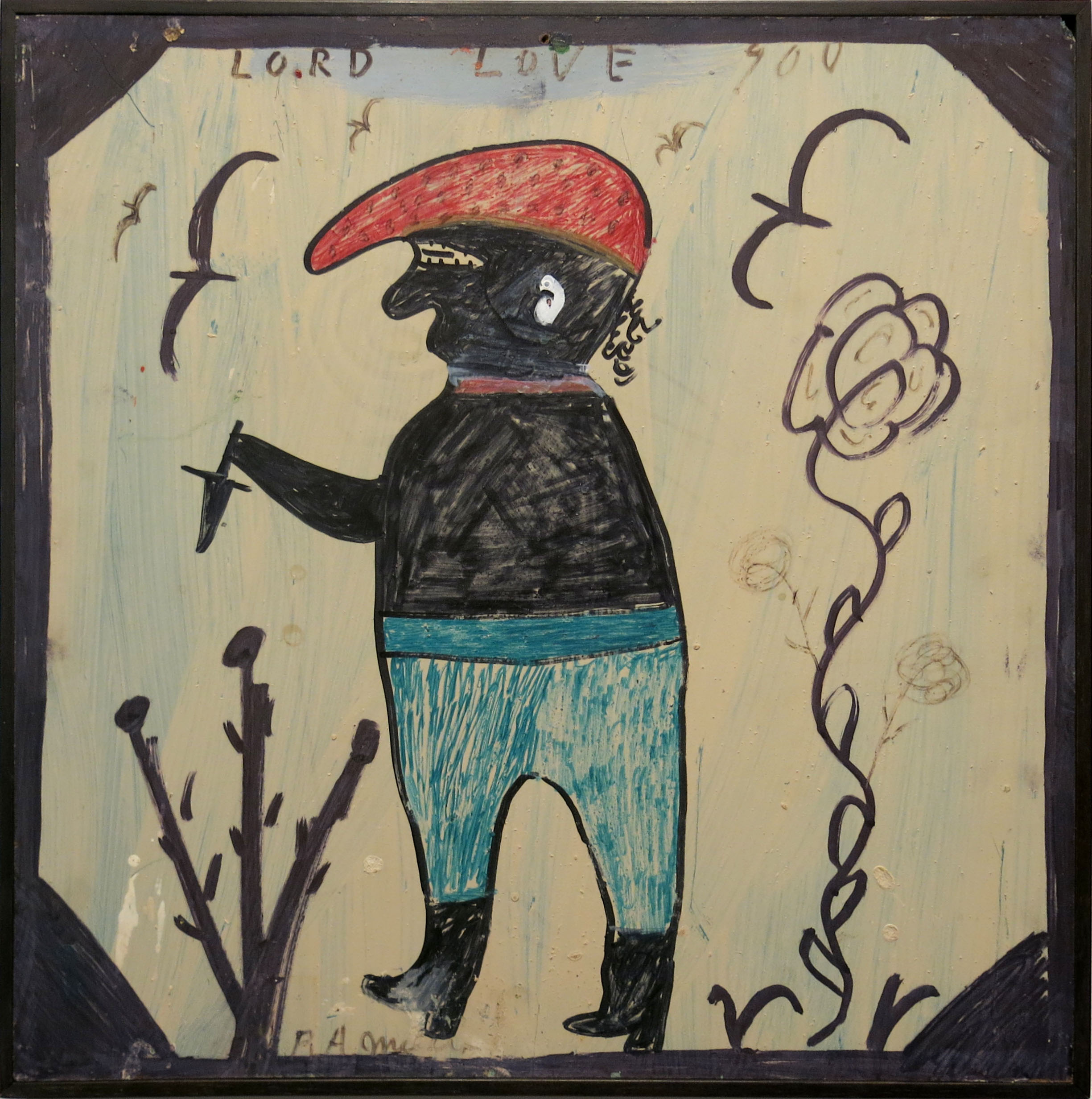 RA Miller,  Untitled (Lord Love You),  1990, Mixed media on wood panel, 18h x 18w in.