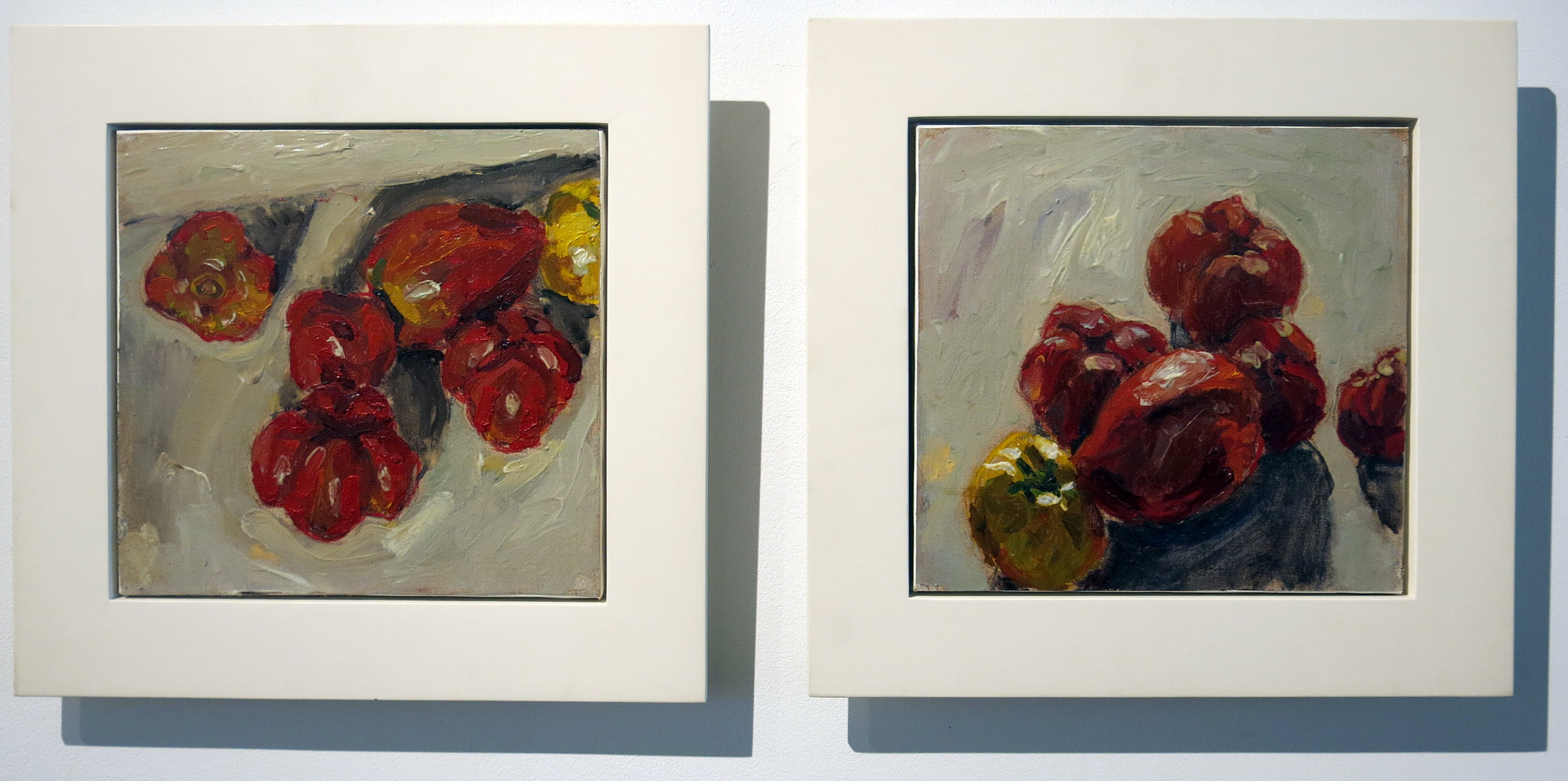 Peter Schmersal,  Coeur de Boeuf,  1991, Oil on canvas, two parts, 10.5h x 11w in; 10.5h x 11w in.