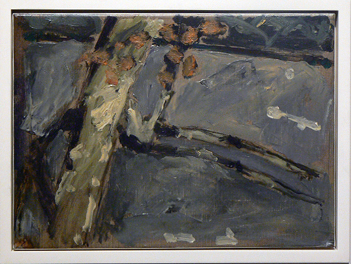 Peter Schmersal,  Tree,  1991, Oil on canvas, 13.2w x 18.125h in. (framed)