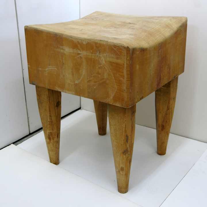 American, Butcher Block, c. 1970, maple wood, 32h x 24w x 24d in.