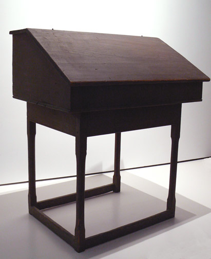 Anonymous, American,  School Teacher's Desk,  19th century, Pine/oak with original paint, 41.25h x 35w x 25d in.