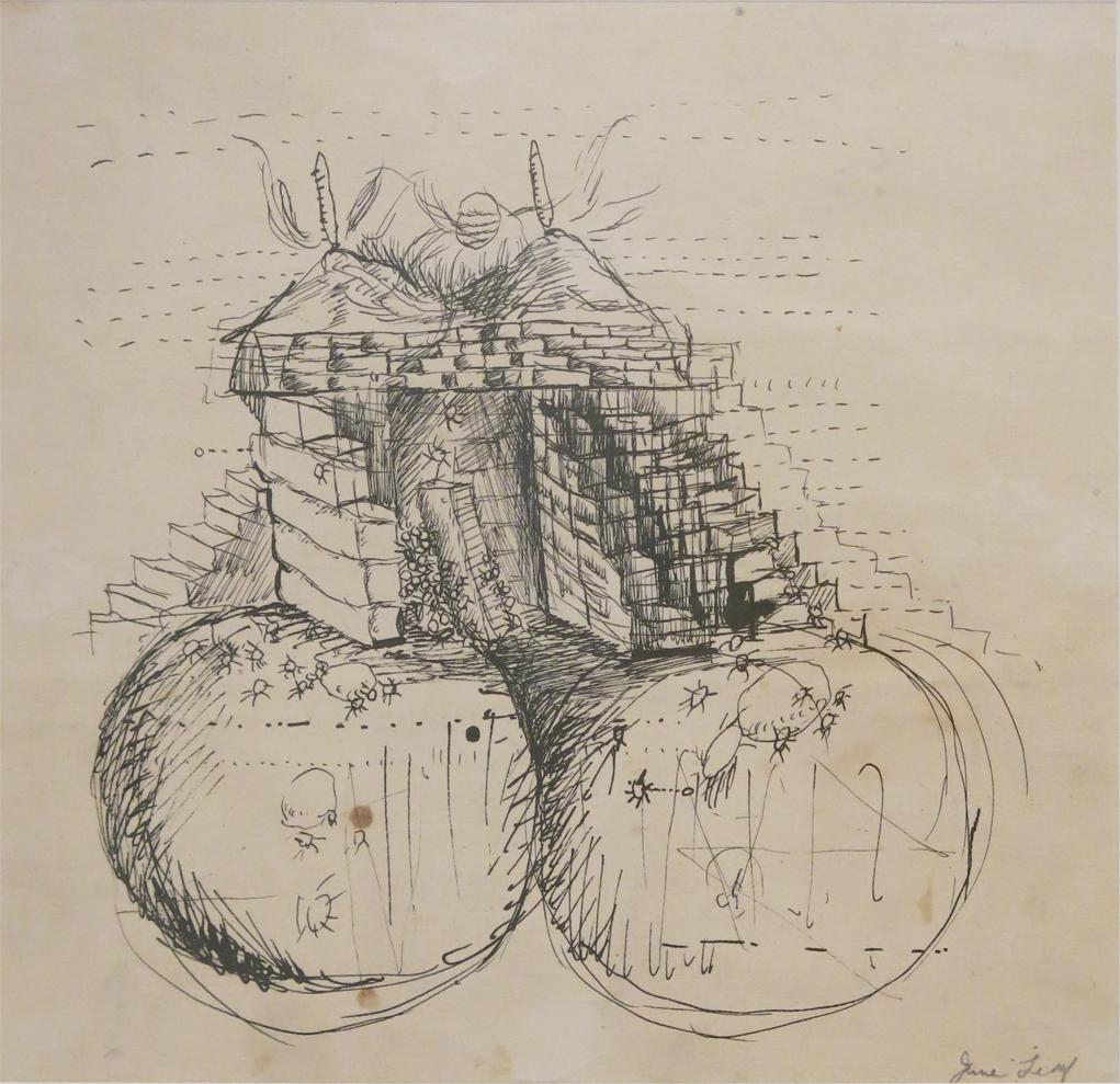June Leaf, Twin Volcanoes, 1951, Ink on paper, 8.5h x 9w in.