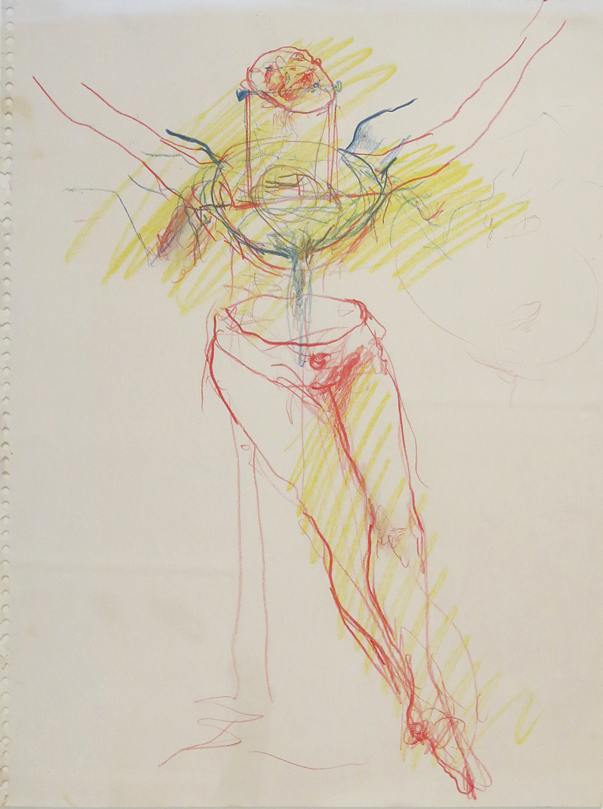 June Leaf, Study for Woman Monument #2, 1975, colored pencil on paper, 17h x 14w in.