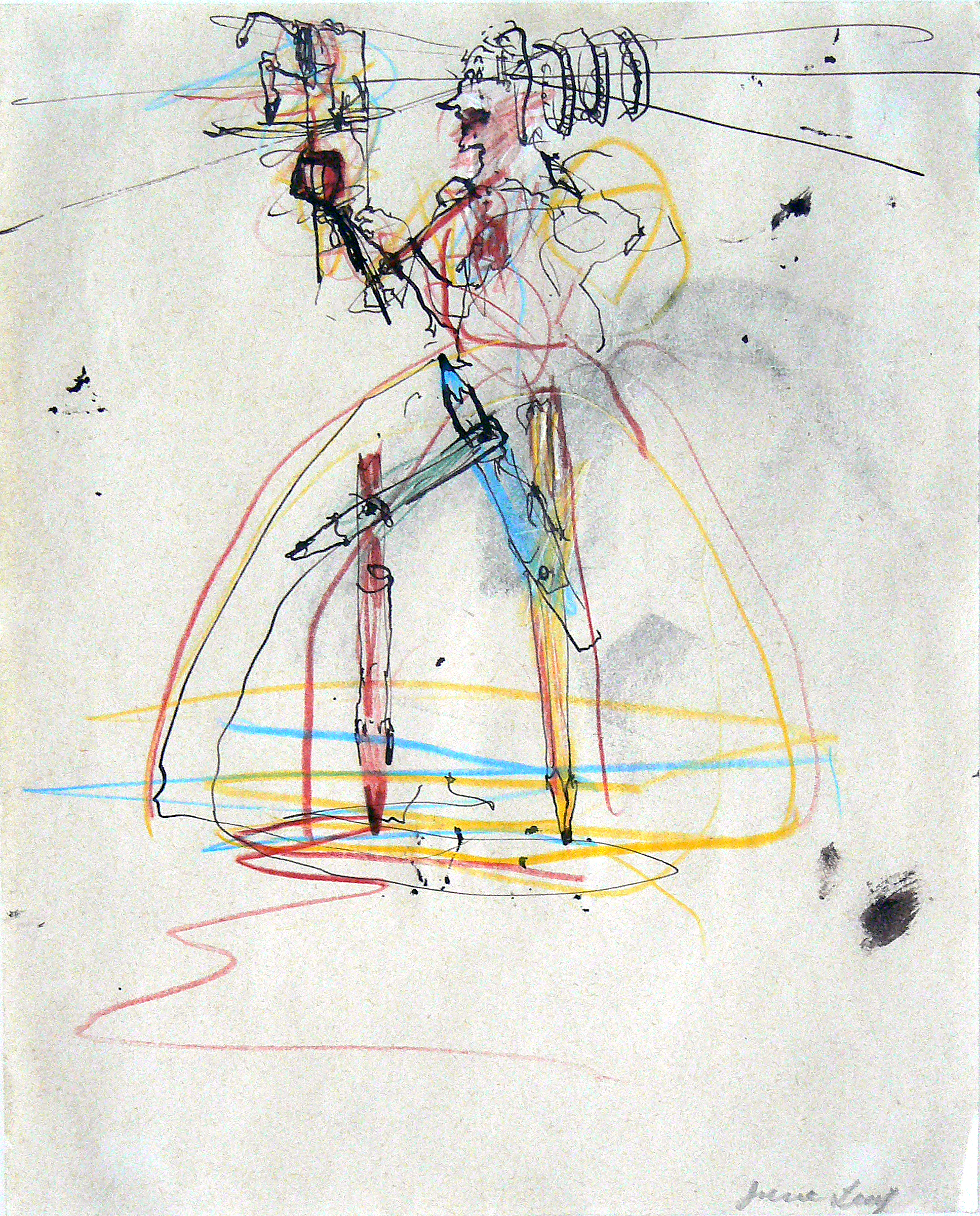 June Leaf, Pencil Legs , 1980, colored pencil and ink on paper, 10h x 8w in.
