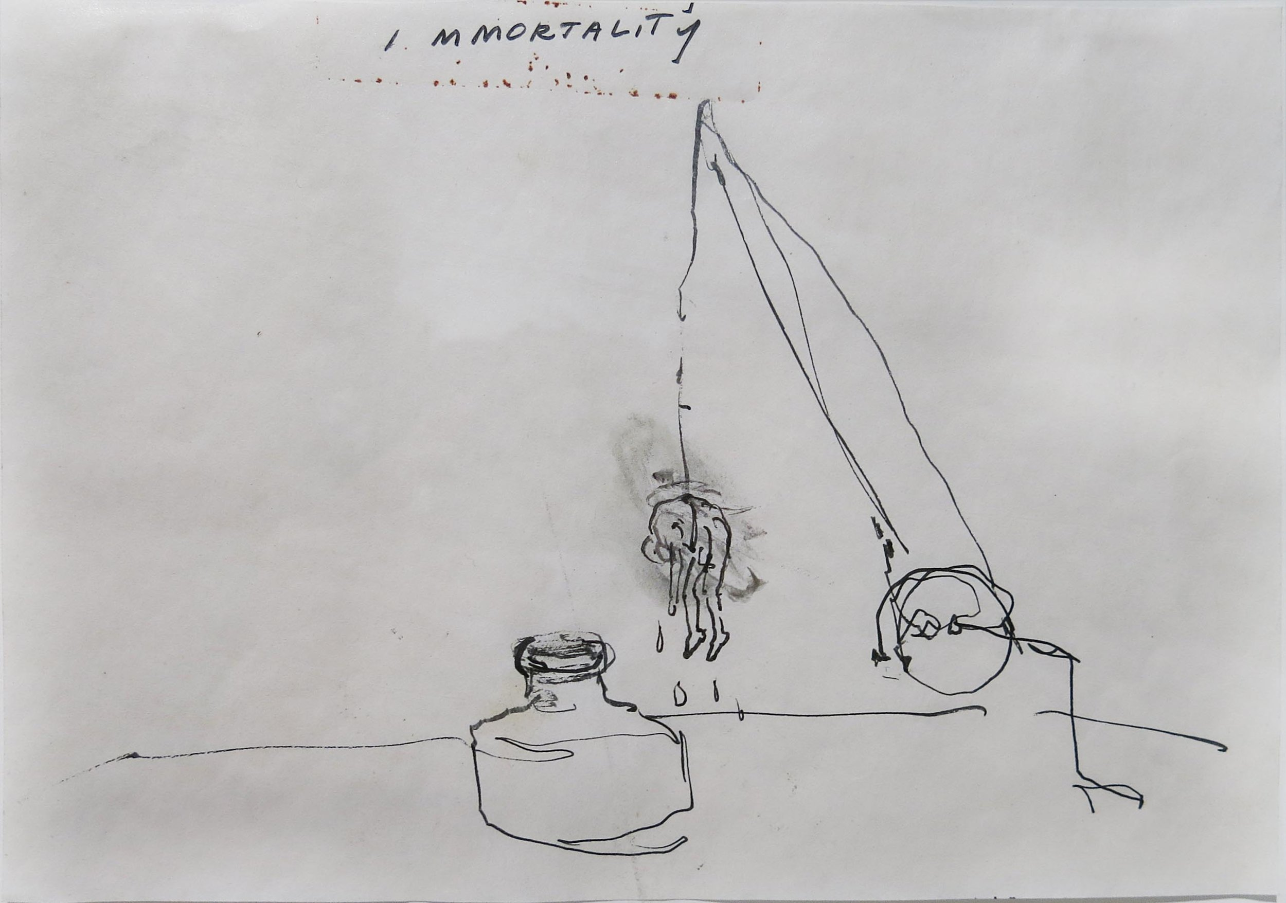 June Leaf, Immortality, 1978, Ink on paper, 6h x 8.25w in.
