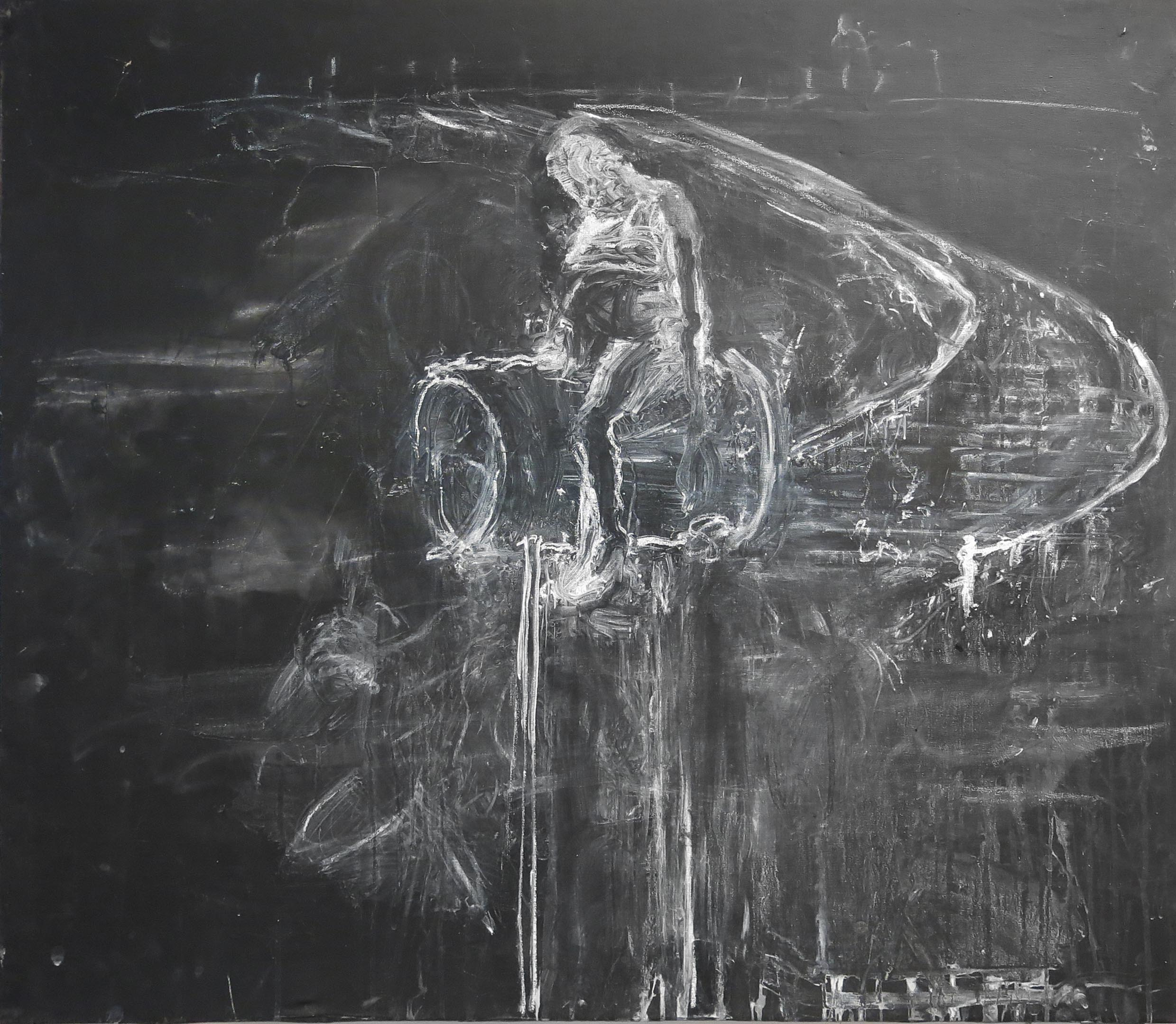 June Leaf, Figure Riding Staircase, 2015-2016, blackboard paint and chalk on canvas, 36h x 41w in.