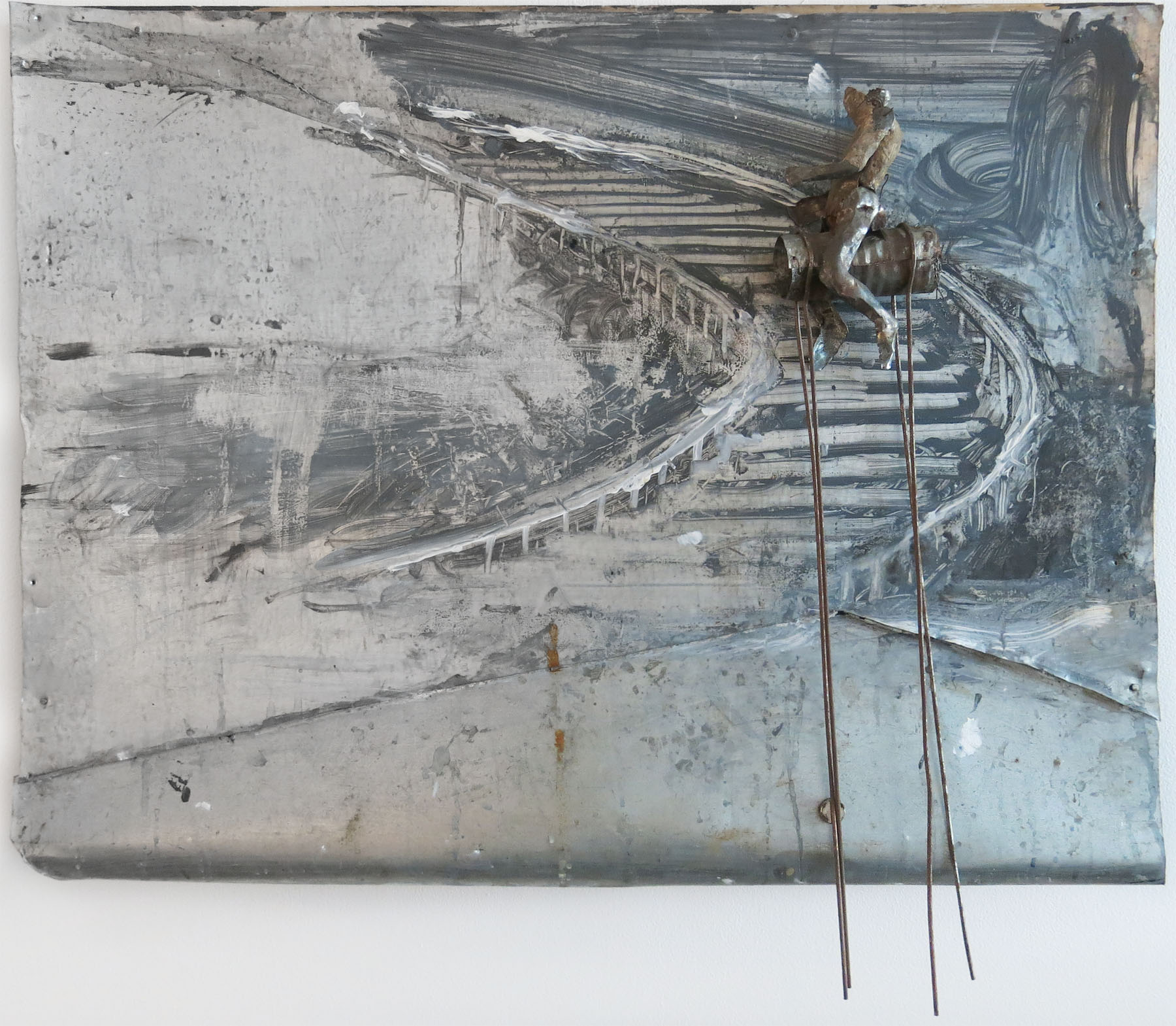 June Leaf, Figure Riding Staircase, 2015-2016, acrylic, tin and wire, magnets on tin, 21h x 23.5w x 4.5d in.