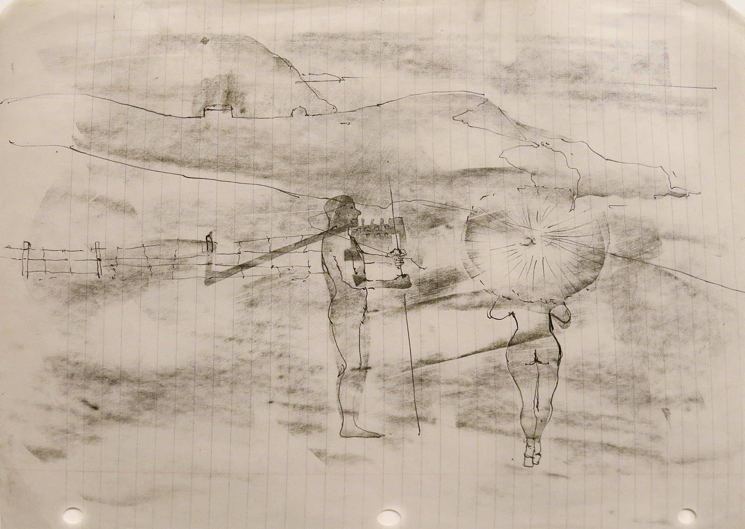 June Leaf, Woman with parasol, 1974, Pencil and ink on paper, 8.5h x 11w in.