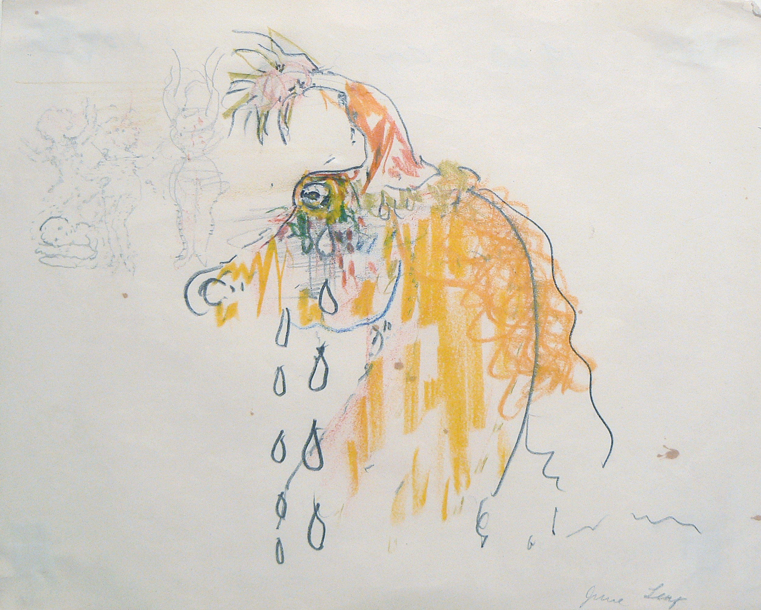 June Leaf, Crying Horse, c.1970, colored pencil & pencil on paper, 8h x 10.25w in.