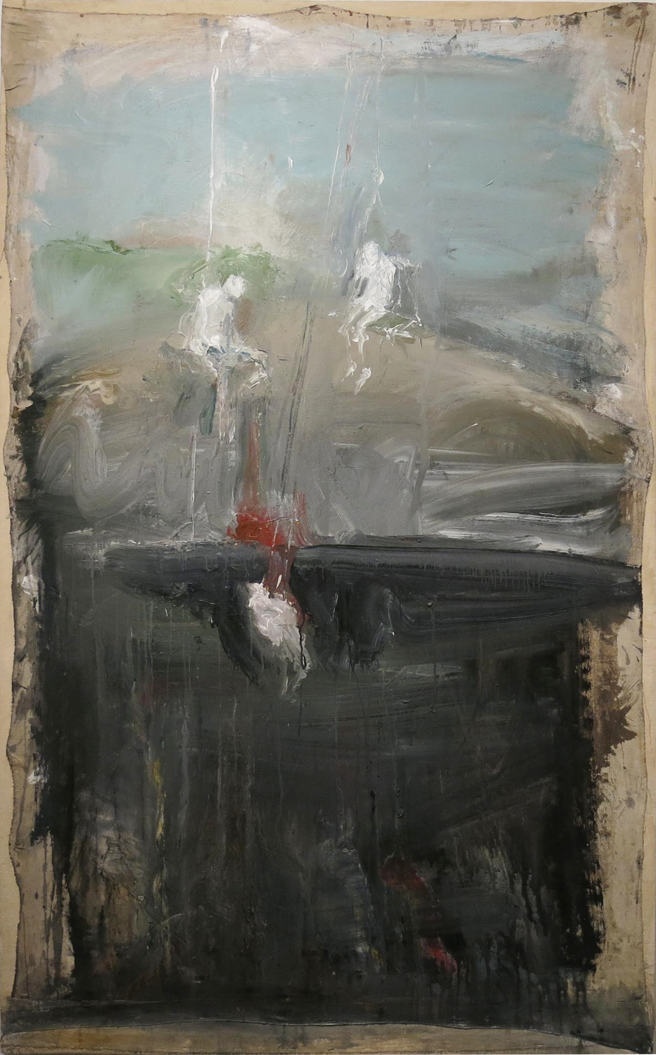 June Leaf, Figures Being Hoisted, 1999-2000, acrylic on canvas, 68.5h x 42w in.