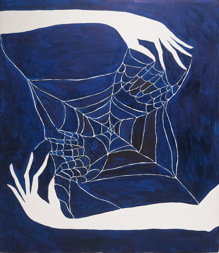 Rachel Malin,  Cat's Cradle/Spider's Dreams,  2015, oil on canvas, 30h x 20w in.