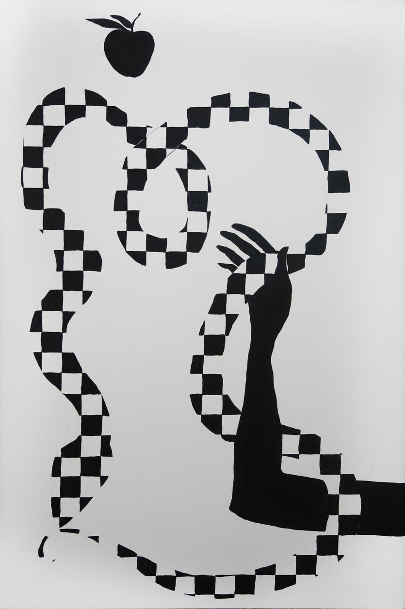 Rachel Malin, Reaching, 2015, oil on canvas, 36h x 24w in.