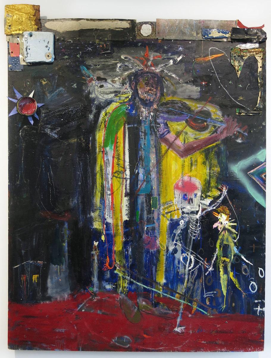 Matt Blackwell, Border Music, 2015, oil, metal, collage on panel, styrofoam, 64.25h x 48w x 3d in.