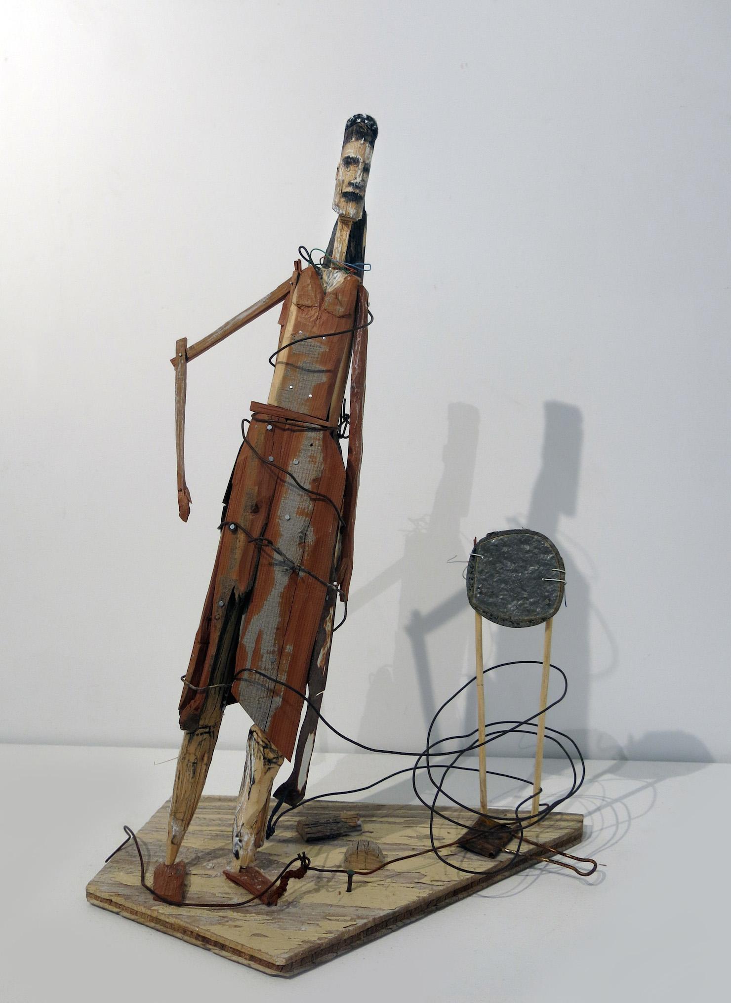 Matt Blackwell, Black Forty (Santos Figure), 2016, wood, wire, charcoal, pastel, 21h x 12.5w x 8.75d in.
