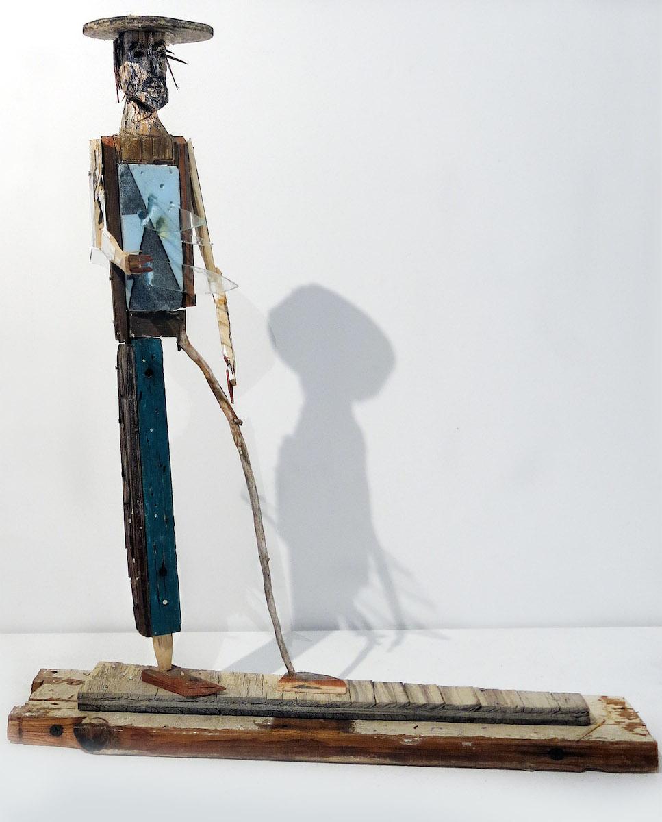Matt Blackwell, Hard Wind (Santos Figure), 2015, wood, styrofoam, glass, charcoal, pastel, 19.75h x 17w x 5.75d in.
