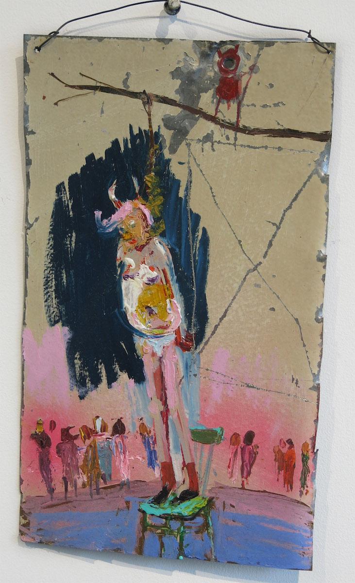 Matt Blackwell, Hang Em (Retablo),  2015, mixed media on tin, 12h x 7w in.