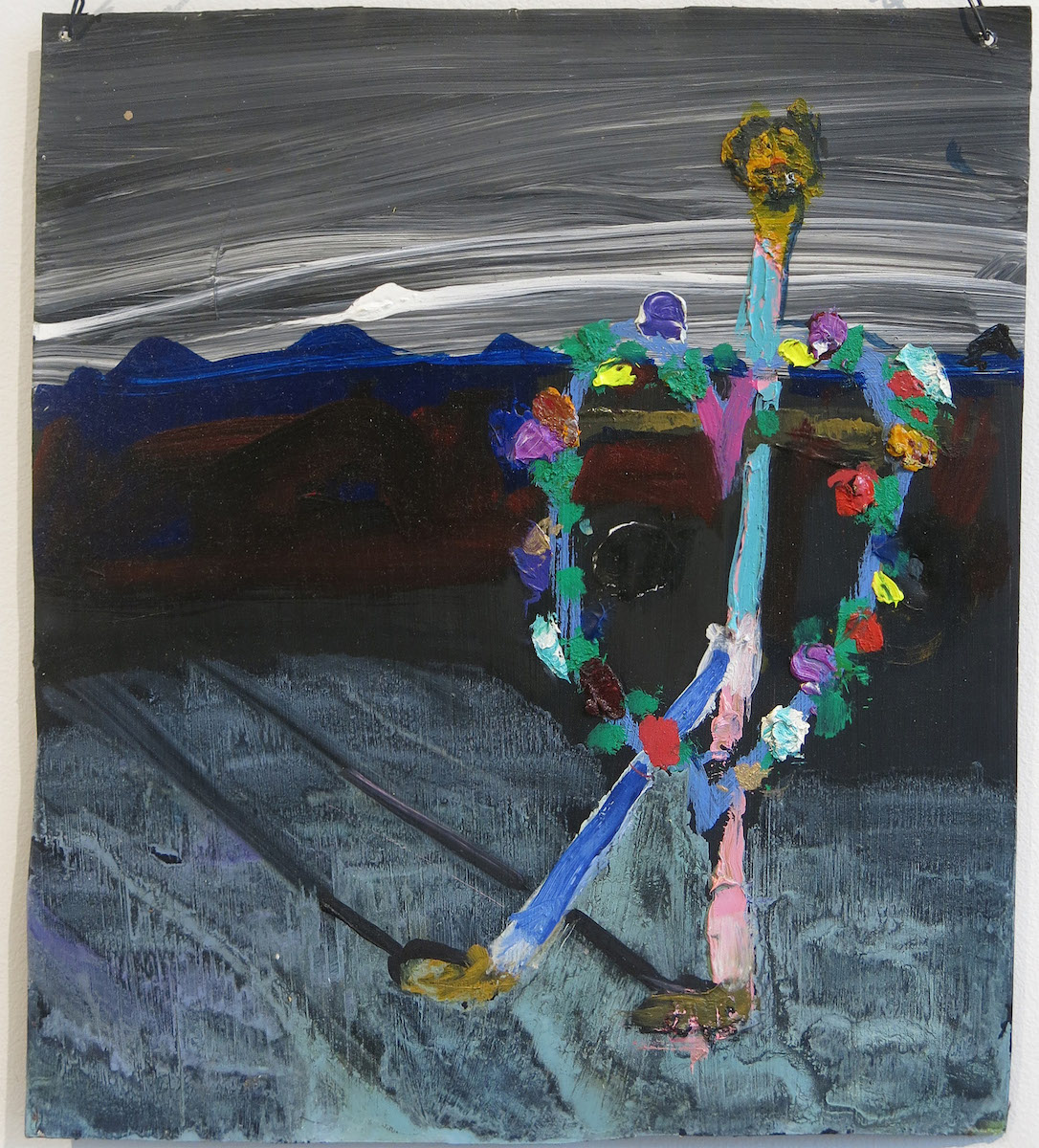 Matt Blackwell, Wandering Sign (Retablo), 2014, mixed media on tin, 10.75h x 9.5w in.