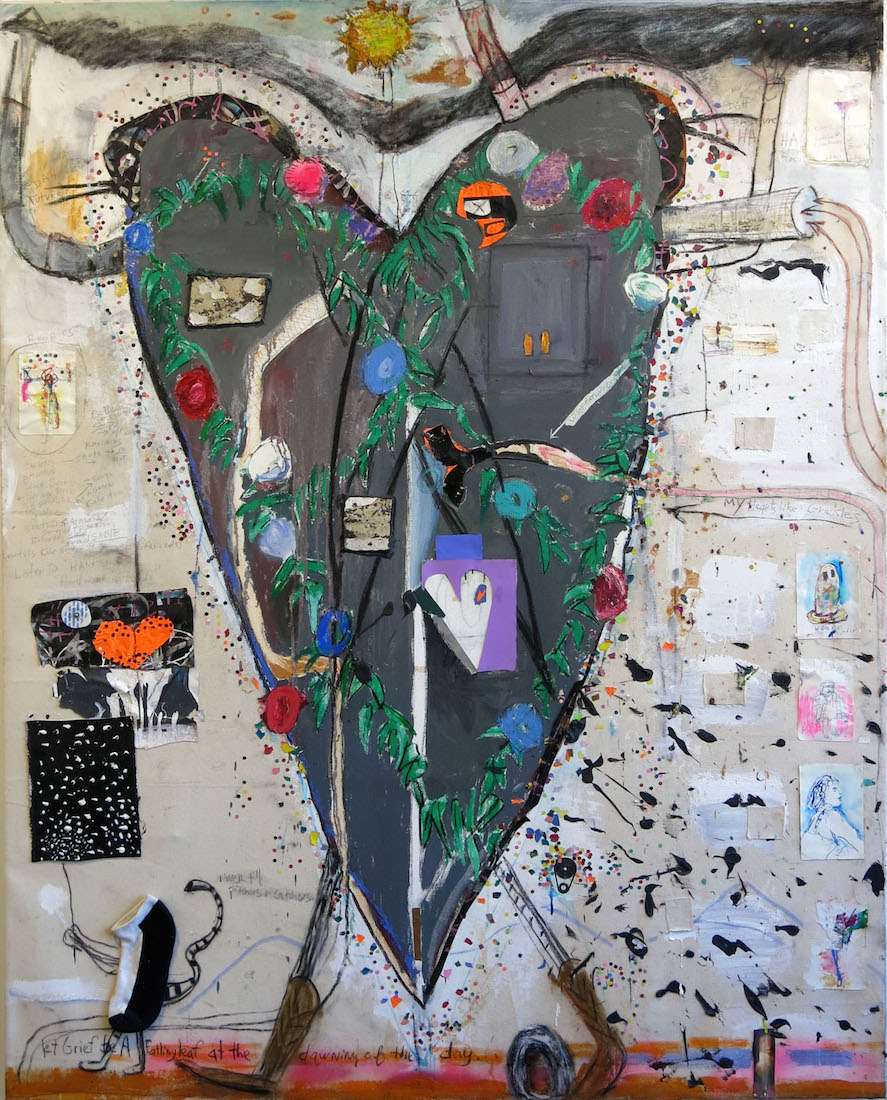 Matt Blackwell, Heart Like Two Grackles, 2013-16, mixed media and oil on canvas, 70h x 54w in.