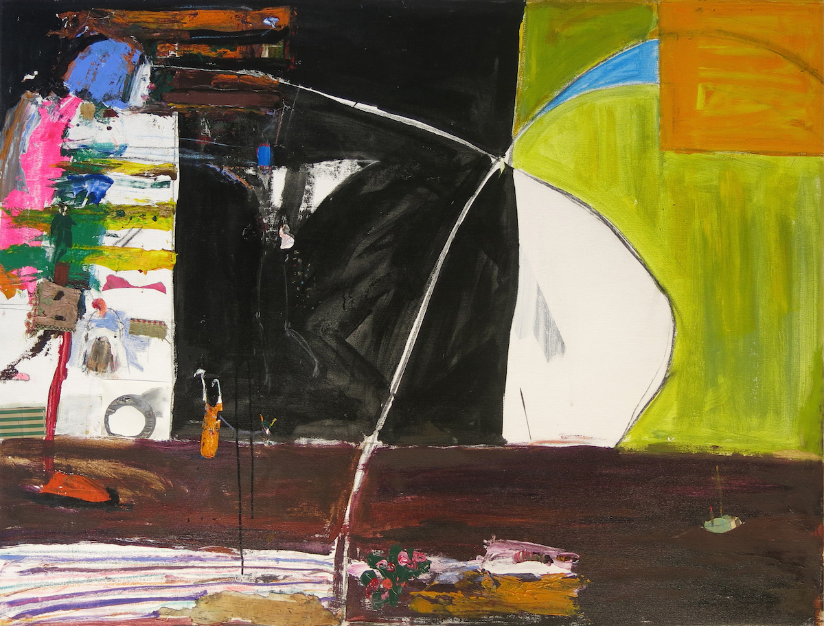 Matt Blackwell, Walks on Water and Ophelia Below, 2015, acrylic, oil, and collage on canvas, 41.75h x 55.75w in.
