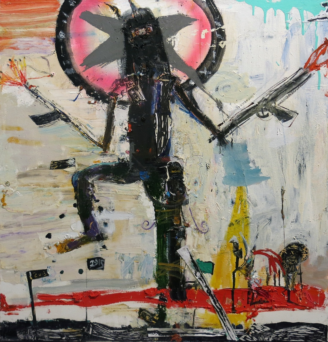 Matt Blackwell, Barbarian, 2015, oil and collage on canvas, 28h x 26w in.