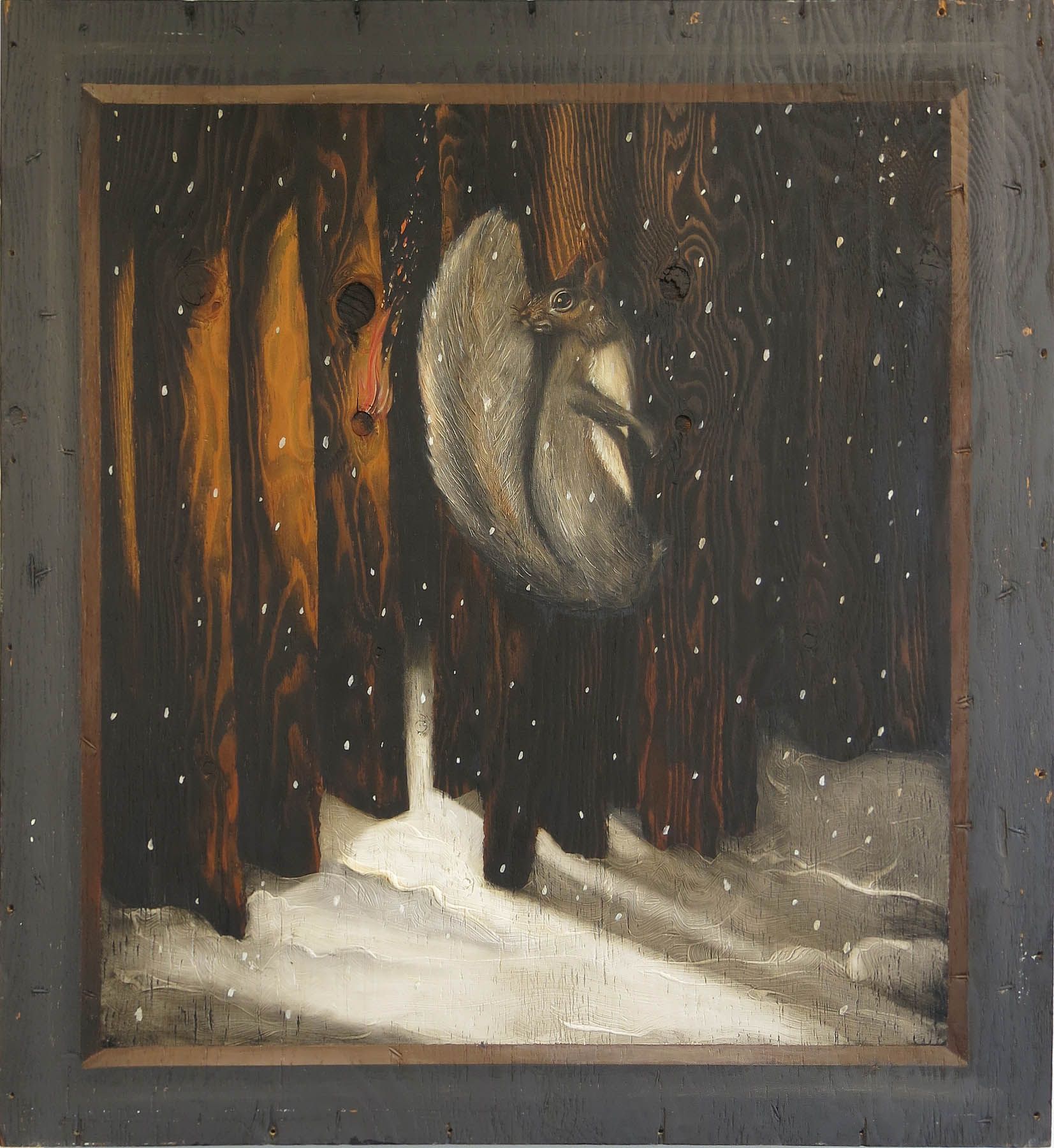 Robert Helm,  Fire Starter,  1985, oil on wood (crate lid), 36h x 33w x 1d in.