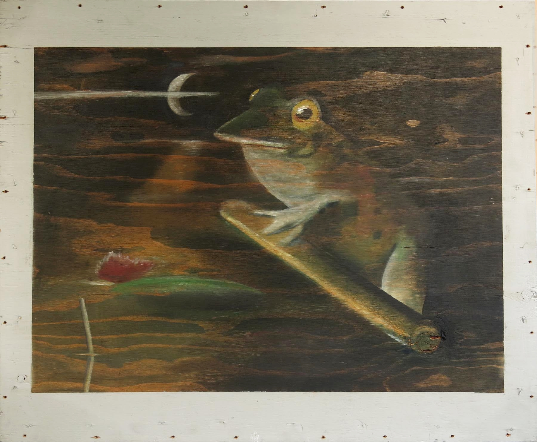 Robert Helm,  Untitled (frog),  1984, oil on wood, 29.5h x 36w in.