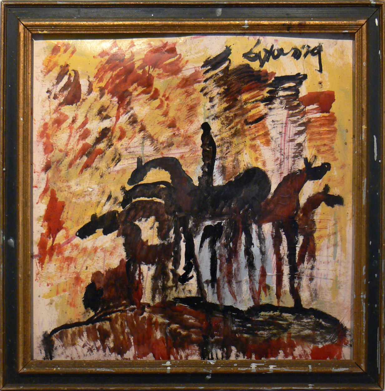 Purvis Young, Six Horses, c. 1985, mixed media on board, 30 1/2h x 29 1/2w in.