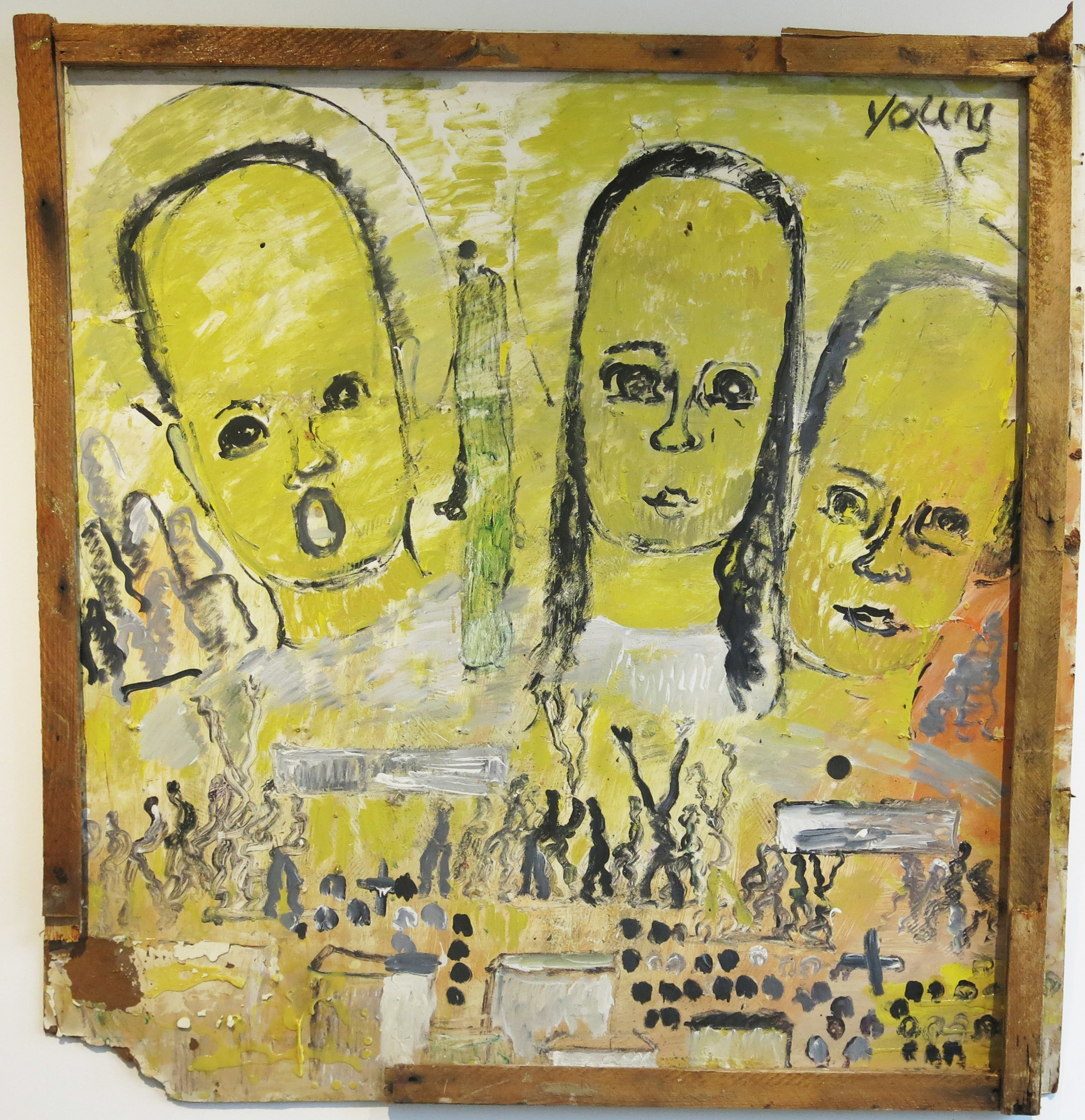 Purvis Young, Untitled, late 1980's, oil on board, 43h x 41.5w in.
