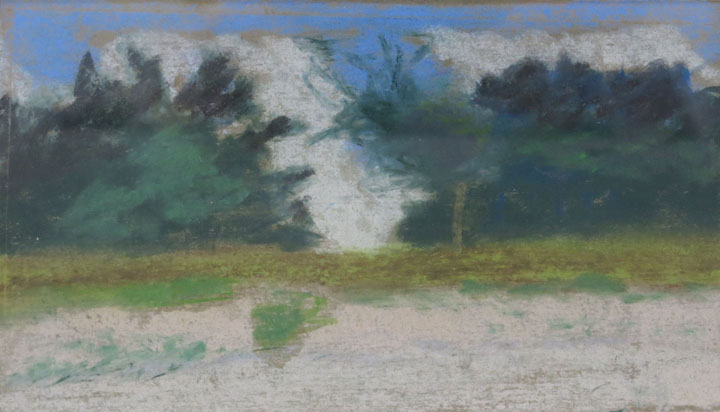 Charles W. Hutson, Pines at Water's Edge, c. 1910-1920, pastel on paper, 7.5h x 4.5w in.
